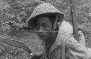 gurkha soldier with kukri in burma during ww2, 1943. heritage knives, kilatools.